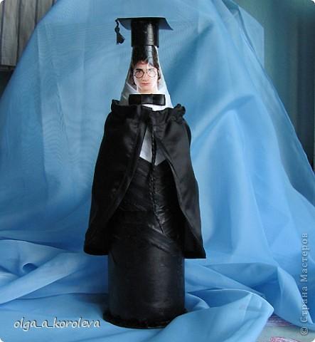 Волшебное зелье от Гарри Поттера Сделала внуку на день рождения бутылку с волшебным зельем от вредности. Оформила бутылку образом Гарри Поттера. Бутылка стеклянная с тархуном. фото 1