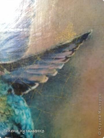 распечатка, дорисовка, 2-х шаговый кракле stamperia, стеклянные камушки и стрелки покрашены в тон рамки. аквалак бесцветный. фото 2