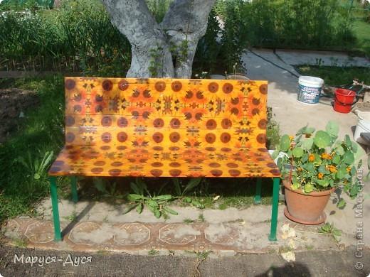 Дачная скамейка с маками, делала в августе, сделала за 1 день. фото 6
