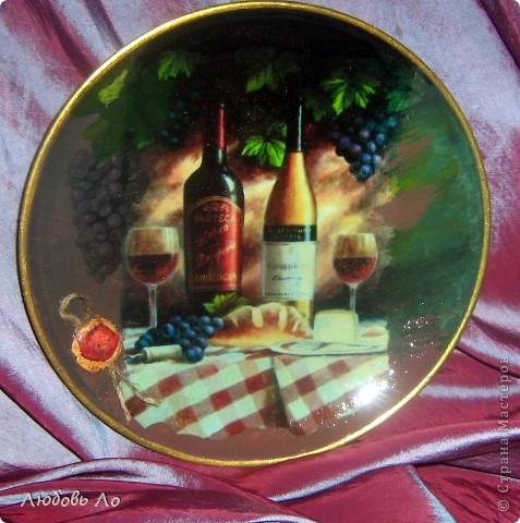 Тарелка с натюрмортом-прямой декупаж фото 2