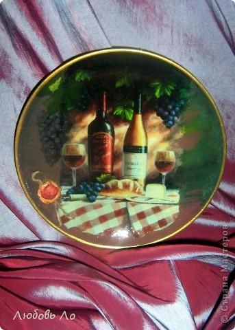 Тарелка с натюрмортом-прямой декупаж фото 1