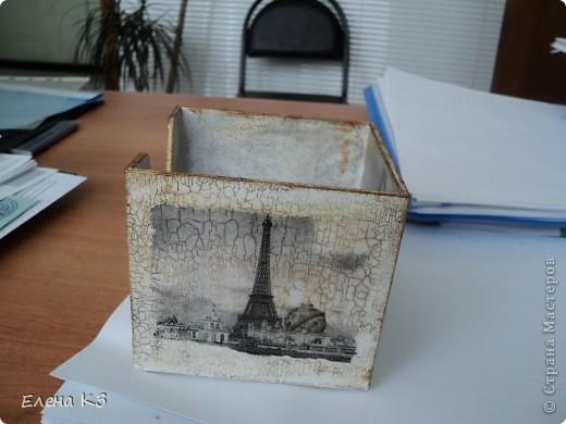 Этот офисный наборчик родился у меня когда я осваивала кракелюрную пару Креал. Бокс для бумаг был из темного пластика, внутри никак не закрашивался.  фото 3