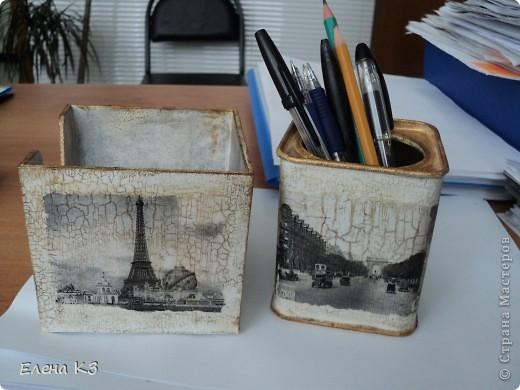 Этот офисный наборчик родился у меня когда я осваивала кракелюрную пару Креал. Бокс для бумаг был из темного пластика, внутри никак не закрашивался.  фото 4
