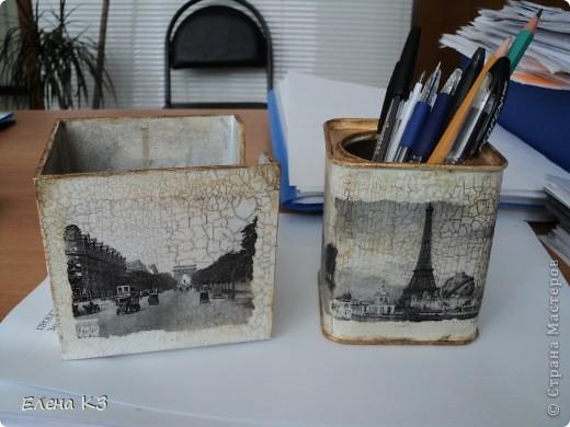 Этот офисный наборчик родился у меня когда я осваивала кракелюрную пару Креал. Бокс для бумаг был из темного пластика, внутри никак не закрашивался.  фото 1