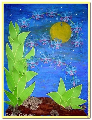 Выросли старые орхидеи на новом месте.А получилось это так:эти орхидеи: http://stranamasterov.ru/node/55764,  мы дарили с Катей классному руководителю в 2010 году,тогда я ещё не умела углублять рамочки,вот и решили взять работу на реставрацию-углубить рамочку,спрятать работу под стекло.    фото 5