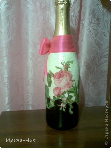 Бутылка стояла для удобного случая, решила ее немного приукрасить фото 2