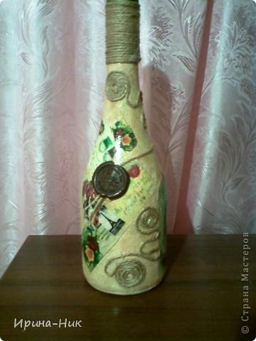 Бутылка стояла для удобного случая, решила ее немного приукрасить фото 3