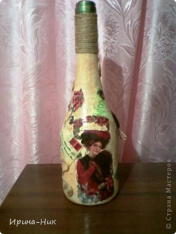 Бутылка стояла для удобного случая, решила ее немного приукрасить фото 4