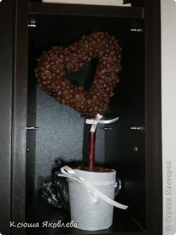"""В продолжение серии """"Кофейные деревья"""" появилось вот такое сердце. Создавалось в  подарок на годовщину свадьбы. Вроде понравилось. Фотографировала уже на кухне счастливых супругов. фото 1"""