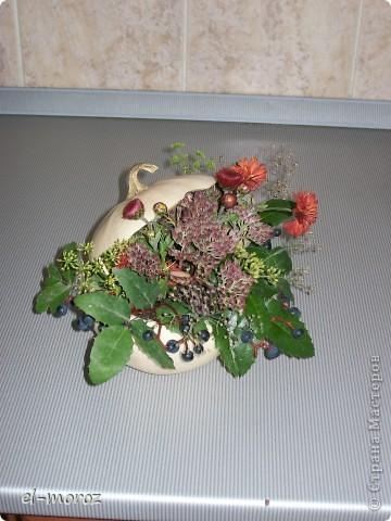 Кашпо из тыквы(шкатулка с драгоценностями)осенние последние цветы и травы....вид с боку фото 1