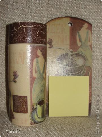 Подарочные наборы. Баночка растворимого кофе и декоративная досочка с листочками для записи. фото 2