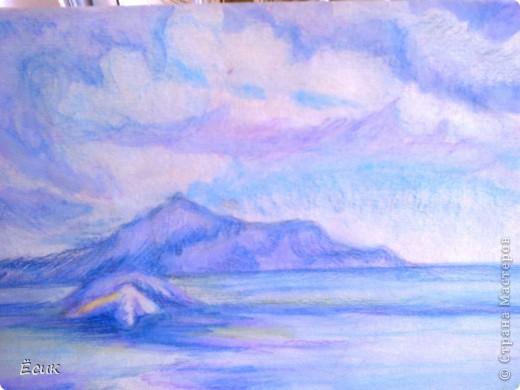 Вот такой вот островок!Нарисовано акварельными карандашами на бумаге для пастели. фото 1