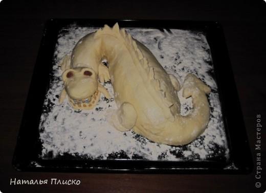Скоро Новый год, и я решила поэкспериментировать на кухне, чтобы быть готовой к празднику...  Мой Егорка очень любит драконов, поэтому возникла идея испечь пирог с начинкой в виде талисмана наступающего года...  фото 8