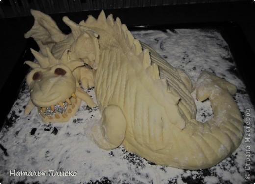 Скоро Новый год, и я решила поэкспериментировать на кухне, чтобы быть готовой к празднику...  Мой Егорка очень любит драконов, поэтому возникла идея испечь пирог с начинкой в виде талисмана наступающего года...  фото 10