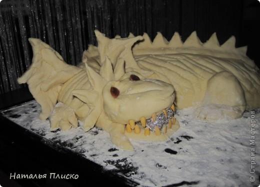 Скоро Новый год, и я решила поэкспериментировать на кухне, чтобы быть готовой к празднику...  Мой Егорка очень любит драконов, поэтому возникла идея испечь пирог с начинкой в виде талисмана наступающего года...  фото 11