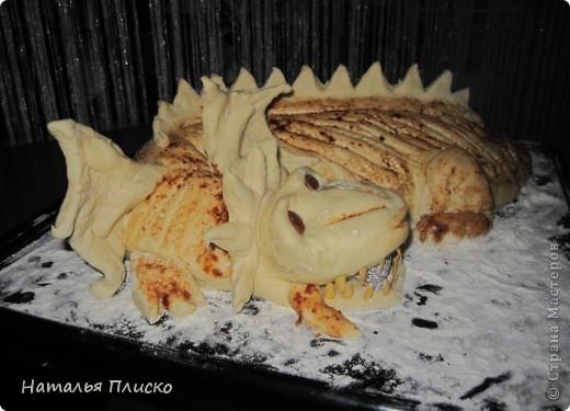 Скоро Новый год, и я решила поэкспериментировать на кухне, чтобы быть готовой к празднику...  Мой Егорка очень любит драконов, поэтому возникла идея испечь пирог с начинкой в виде талисмана наступающего года...  фото 14