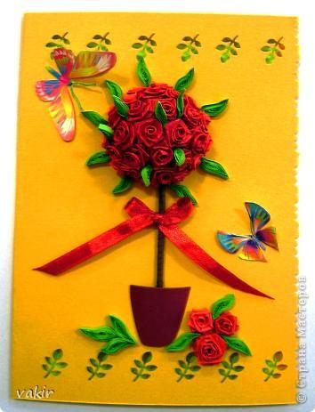 Здравствуйте! Знакомьтесь с моей новорожденной открыткой! Заказчица попросила сделать яркую открытку для яркой женщины с непростой судьбой. Вот что получилось в итоге. Захотелось сделать деревце счастья из алых роз. фото 1