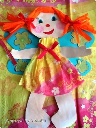 Таких кукол пробовали сделать из бумаги и картона. Девочки делали с восторгом. Особенно понравилояь им заплетать косички.  фото 2
