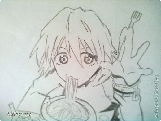 """я все таки решила выложить еще парочку рисунков в стиле аниме,тк очень спешу пока тольк 2,как приду домой еще скину))) харуко из """"фури кури""""^^ фото 1"""