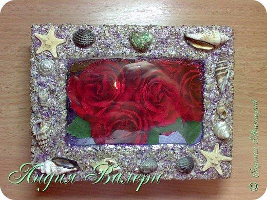Хочу представить Вам свое творение в морском стиле. Рамочка сделана  из морских ракушек и песка. фото 1