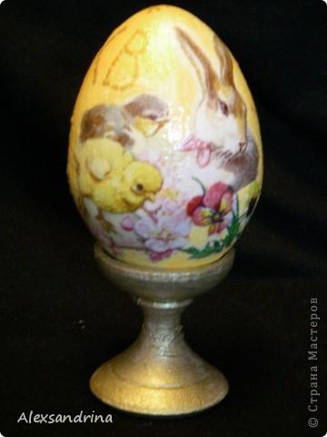 Декупаж деревянных яиц на Пасху фото 4