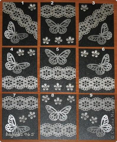 """Новая серия АТС - совсем простая, она сделана с помощью """"дырокольностей"""" собственных и присланных в подарок. Огромное спасибо Виктории за бабочек!  Фон - скрап-картон цвета """"мокрый асфальт металлик"""", кружева и цветочки сделаны из скрап-картона под кожу, бабочки - из бумаги для пастели, покрашены серебряной акриловой краской. Серединки цветов и головки у бабочек - стразы. Всё блескучее и сверкучее - поэтому плохо фотографируется.  Кредиторов у меня нет. Приглашенные выбирают в первую очередь.  № 1 - Vitulichka  № 2 - оставляю себе № 3 - Vatacymi no-Kami  № 4 - Смурфик № 5 - ШМыГа № 6 - Сургай Настя  № 7 - Дарёнка № 8 - выбрала Лариса № 9 - Россиянка"""