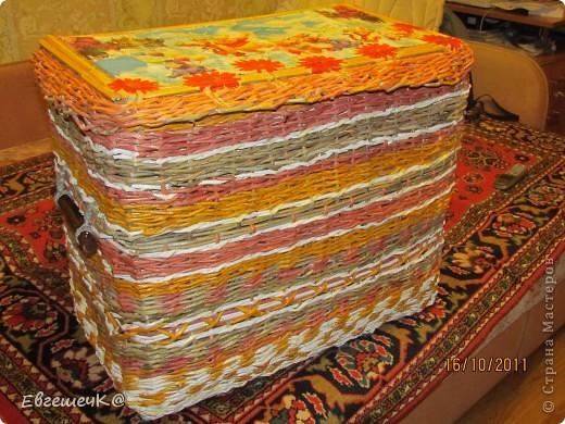 Здравствуйте, жители страны мастеров! Вот решила потренироваться в техниках плетения, получился коробок под игрушки размеры 40*67см, высота 54 см. фото 1