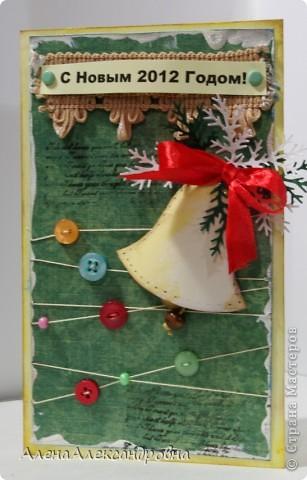 Начинаю подготовку к Новому году.Бумаги праздничной тематики пока нет, поэтому первые открытки из такой.  Идею такого колокольчика подсмотрела у польской мастерицы Агнешки http://agnieszka-scrappassion.blogspot.com/  фото 1