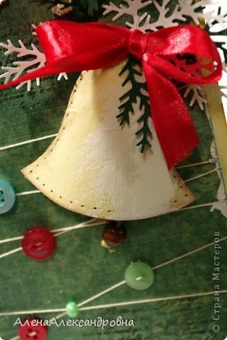 Начинаю подготовку к Новому году.Бумаги праздничной тематики пока нет, поэтому первые открытки из такой.  Идею такого колокольчика подсмотрела у польской мастерицы Агнешки http://agnieszka-scrappassion.blogspot.com/  фото 2