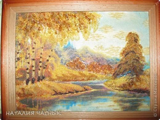 Такие картины сделала я из янтарной крошки.Это вторая моя картина фото 2