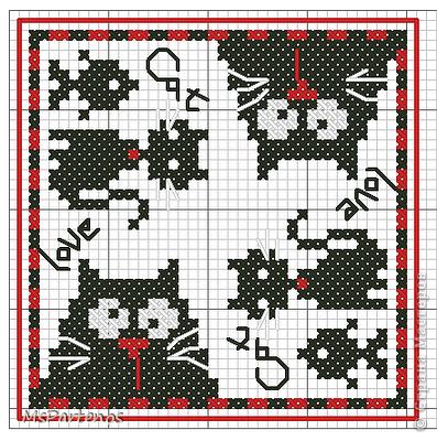 Немного упростила начальный вариант схемки, и получились такие славные коты :) фото 2