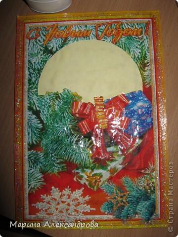 скоро новый год, нашла у себя кучу новогодних открыток (естественно старых)...и решила что на кружке с детками будем творить открыточки своими руками! известно что подарок сделанный руками ребенка приносит радость и тепло! фото 5