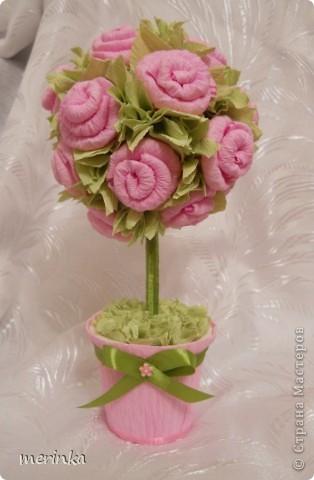 Моя мама очень любит розы, причем именно розовые, вот я для нее сделала топиарий с розовыми цветочками фото 4