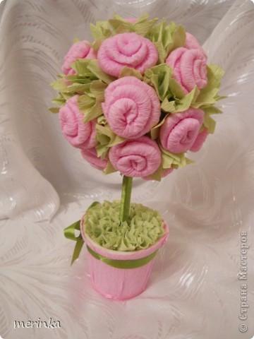 Моя мама очень любит розы, причем именно розовые, вот я для нее сделала топиарий с розовыми цветочками фото 2