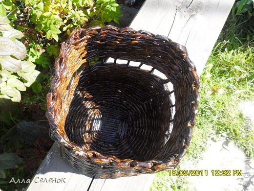 На этом кашпо я училась делать косое плетение и ободок. фото 7