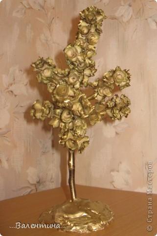 Завтра у моей крестницы День рождения.Ей исполняется 35 лет.Прекрасный возраст! захотелось сделать ей необычный подарок. Из деревянных  розочек (дерево- грецкий орех) получилось вот такое деревце. ______________________________________________ Грецкий орех-символ скрытой мудрости, а также плодородия и долгожительства. Грецкий орех подавался на свадьбах в Древней Греции и Риме как символ указанных качеств. Он олицетворяет силу в несчастии, принятие правильных решений в трудных ситуациях.  фото 2