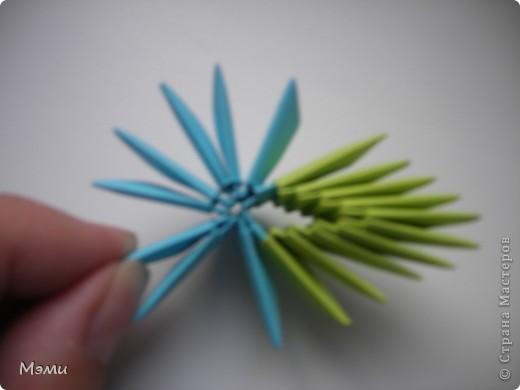 Сначала замкните в кольцо 10 синих модулей. Это серединка цветка. фото 5