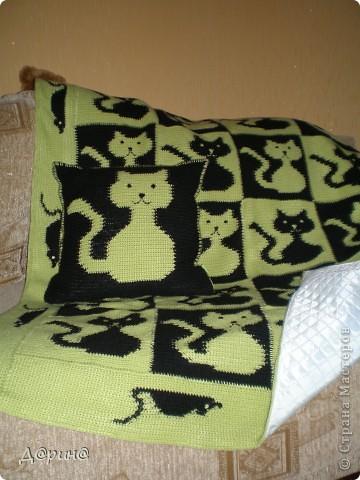 Вязала плед и подушку для племянника:) С изнаночной стороны плед подшит синтипоном. фото 1