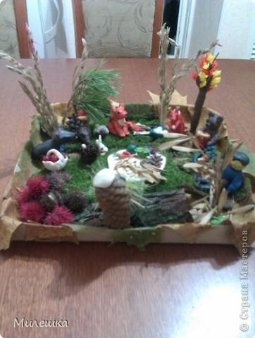 """В детском саду у сына объявили конкурс семейных поделок из природного материала. Мы с сыном придумали сказочную историю, которую назвали """"Праздничный ужин в лесу"""".  фото 3"""