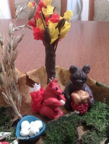 """В детском саду у сына объявили конкурс семейных поделок из природного материала. Мы с сыном придумали сказочную историю, которую назвали """"Праздничный ужин в лесу"""".  фото 4"""