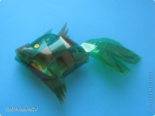 Очень понравилось делать рыбок из пластика. Дети тоже с удовольствием выполнили эту работу из бумаги, чуть посложнее было выполнить из пластиковой бутылки, но они так же справились! фото 3