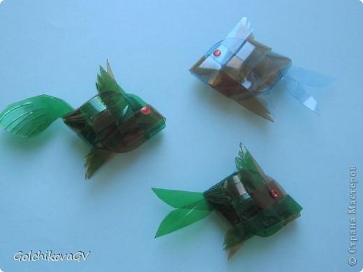 Очень понравилось делать рыбок из пластика. Дети тоже с удовольствием выполнили эту работу из бумаги, чуть посложнее было выполнить из пластиковой бутылки, но они так же справились! фото 1