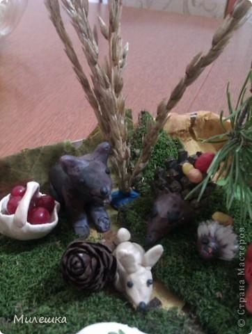 """В детском саду у сына объявили конкурс семейных поделок из природного материала. Мы с сыном придумали сказочную историю, которую назвали """"Праздничный ужин в лесу"""".  фото 5"""