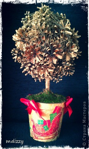 Новогоднее дерево из Шишек (Топиарий) фото 1