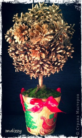 Новогоднее дерево из Шишек (Топиарий) фото 2