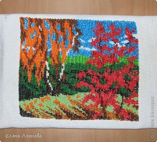 Осенний пейзаж. Моя первая вышивка бисером. фото 2