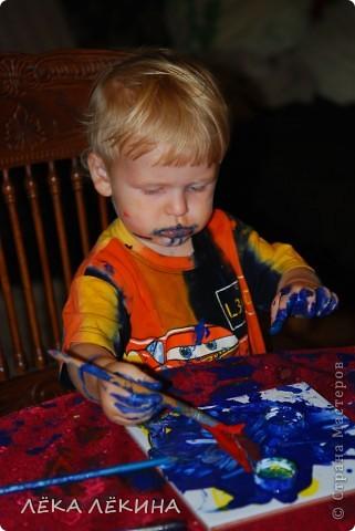 Ну вот и я созрела чтобы показать наши с детишками работы. В данной работе использована техника монотипия, с последующей прорисовкой и тонировкой.  фото 8