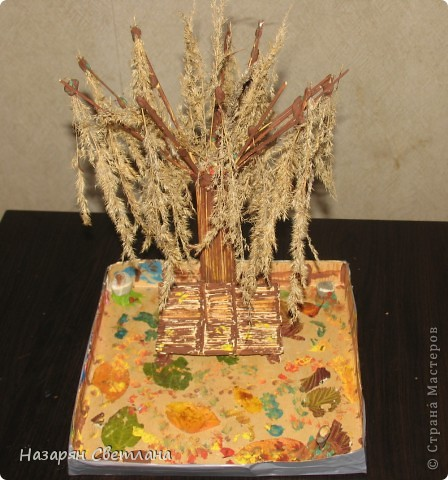 """Поделки сделанные в 4 классе  Домик в деревне.  Я сделала эти поделки на конкурс """"Осенний калейдоскоп"""". Нам нужно было сделать поделки из природного материала, но можно и использовать другие материалы как клей, пластилин, игрушки, краски. В поделке """"Домик в деревне"""", я решила использовать крышку коробки(на ней я делала поделку),   листья(трава), картон(сперва домик был сделан из картона, потом я приклеила на него макароны и соломки), макароны(я их приклеила на домик), соломки(клеила на крышу), ветки ёлки(деревья), цветочки(как украшение), ветки дерева жасмин(забор, в углу как будто дрова), камни и ракушки(колодец), нитки(придерживали ведро колодца), пластилин. фото 2"""