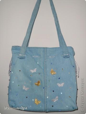 Летняя сумочка из старых джинсов. Рыбки украшены бисером. фото 18