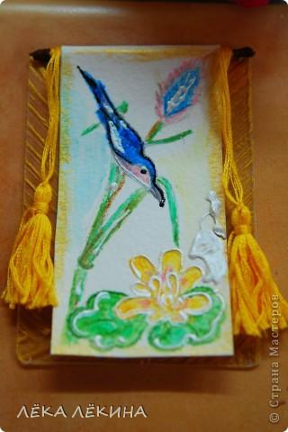 """Серия """"Райские птицы-2"""" по мотивам японких гравюр. Акварельные карандаши, мулине, патинированный пластик - основа. Приорете в выборе - тем кому обещала, так что пишите - не стесняйтесь. Серия на обмен. фото 4"""